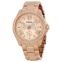 Fossil AM4483 Womens Pink Dial Analog Quartz Watch with Stainless Steel Strap