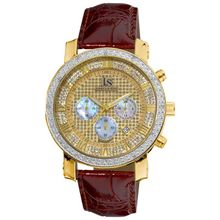 Joshua And Sons JS2803 Mens Gold Dial Analog Quartz Watch with Leather Strap
