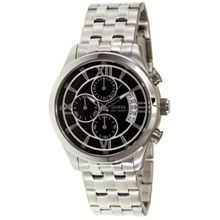 Guess U15071G1 Mens Black Dial Quartz Watch with Stainless Steel Strap