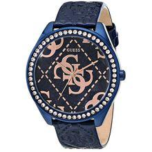 Women's Guess Iconic Blue & Rose-Gold Tone Logo Watch U0473L1