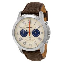 Fossil Grant FS5021 Mens White Dial Analog Quartz Watch with Leather Strap