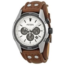 Fossil CH2890 Mens White Dial Analog Quartz Watch with Leather Strap