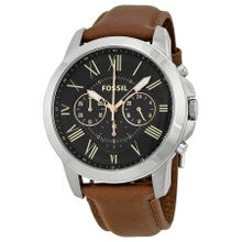 Fossil Grant FS4813 Mens Black Dial Analog Quartz Watch with Leather Strap