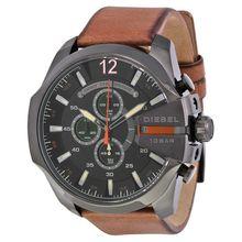 Diesel DZ4343 Mens Black Dial Analog Quartz Watch with Leather Strap
