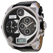 Diesel DZ7125 Mens Black Dial Dual Quartz Watch with Leather Strap