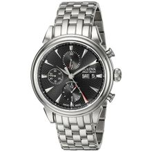 Bulova 63C113 Mens Black Dial Analog Automatic Watch with Stainless Steel Strap