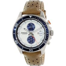 Fossil CH2951 Mens Beige Dial Analog Quartz Watch with Leather Strap