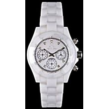 Toy Watch CCS02WH Womens White Dial Quartz Watch with Ceramic Strap