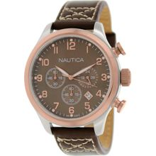 Nautica N17648G Mens Brown Dial Analog Quartz Watch with Leather Strap