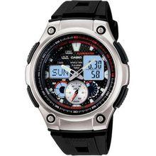 Casio AQ190W-1AV Mens Black Dial Dual Quartz Watch with Resin Strap