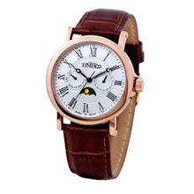 Time100 W80035G.03A Mens White Dial Analog Quartz Watch with Leather Strap