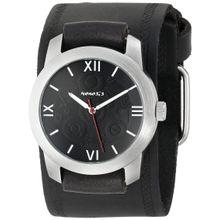 Nemesis HST068K Mens Black Dial Analog Quartz Watch with Leather Strap
