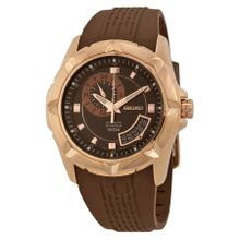 Seiko SSA230K1 Mens Brown Dial Analog Automatic Watch with Rubber Strap