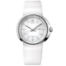 Calvin Klein K0H23101 Womens White Dial Quartz Watch with Leather Strap