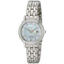 Seiko   SUT277 Womens Solar Diamond Dress Pearl Dial  Analog Quartz Watch