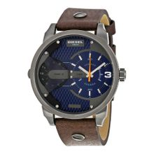 Diesel DZ7339 Mens Blue Dial Analog Quartz Watch with Leather Strap