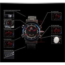 Shark SH066 Mens Black Dial Analog Quartz Watch with Stainless Steel Strap