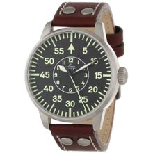 Laco/1925 861690 Mens Black Dial Analog Automatic Watch with Leather Strap