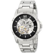 Relic ZR12013 Mens Black Dial Analog Quartz Watch with Stainless Steel Strap