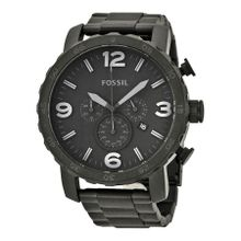 Fossil JR1401 Mens Black Dial Analog Quartz Watch with Stainless Steel Strap