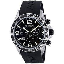 Torgoen T35301 Mens Black Dial Quartz Watch with Pu Strap