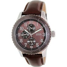 Guess U11654G1 Mens Brown Dial Quartz Watch with Leather Strap