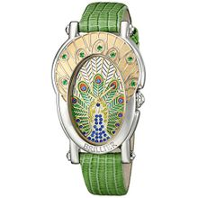 Brillier 19-02 Gr Womens Green Dial Analog Quartz Watch with Leather Strap