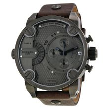Diesel DZ7258 Mens Grey Dial Analog Quartz Watch with Leather Strap