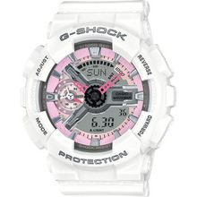 Casio GMAS110MP-7A Womens Pink Dial Analog And Digital Quartz Watch with Resin Strap