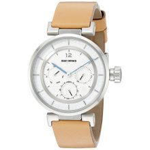 Issey Miyake SILAAB03 Womens White Dial Analog Quartz Watch with Leather Strap