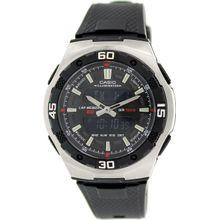 Casio AQ164W-1AV Mens Black Dial Dual Quartz Watch with Resin Strap