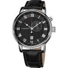 Akribos Xxiv AK595SS Mens Black Dial Analog Quartz with Leather Strap Watch