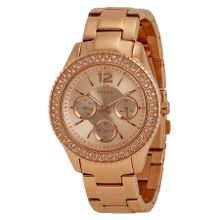 Fossil ES3590 Stella Womens Rose Gold Dial Analog Quartz Stainless Steel Watch