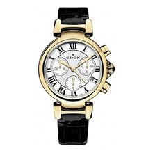 Edox 10220 37RC AR Womens Silver Dial Analog Quartz Watch with Leather Strap