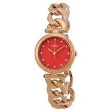 Fossil ES3581 Womens Red Dial Analog Quartz Watch with Stainless Steel Strap