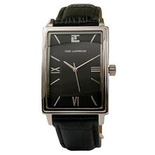 Ted Lapidus 5115001 Mens Black Dial Analog Quartz Watch with Leather Strap