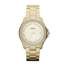 Fossil AM4453 Womens Gold Dial Analog Quartz Watch with Stainless Steel Strap