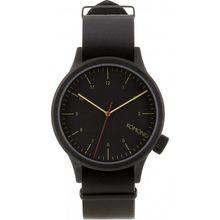 Komono KOM-W1900 Mens Black Dial Analog Quartz Watch with Leather Strap
