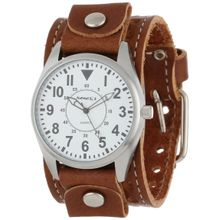 Nemesis BSTH095W Mens White Dial Analog Quartz Watch with Leather Strap