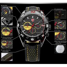 Shark SH081 Mens Black Dial Analog Quartz Watch with Leather Strap