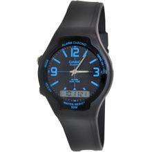 Casio AW90H-2BV Mens Black Dial Dual Quartz Watch with Resin Strap