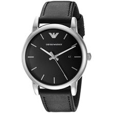 Armani AR1692 Mens Classic Black Dial Analog Quartz Leather Strap Watch