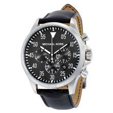Michael Kors Gage MK8442 Mens Black Dial Analog Quartz Watch with Leather Strap