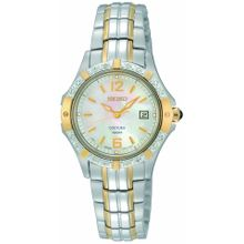 Seiko SXDE20 Womens Mop Dial Analog Quartz Watch with Stainless Steel Strap