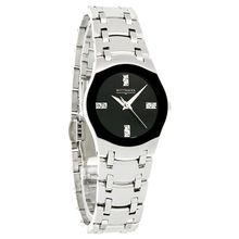 Wittnauer 10P02 Womens Black Dial Analog Quartz Watch with Stainless Steel Strap