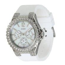 Women's White Guess Crystal Glitz Watch U12653L1