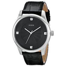 Men's Black Guess Leather Strap Diamond Watch U0539G1