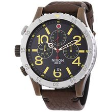 Nixon A3631625-00 Mens Brown Dial Quartz Watch with Leather Strap