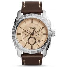 Fossil FS5170 Mens Silver Stainless Steel Case Brown Leather Strap Round  Watch