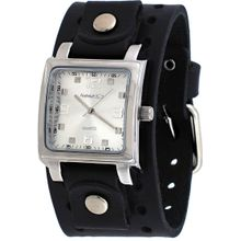 Nemesis B516S Mens Silver Dial Analog Quartz Watch with Leather Strap